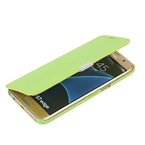 MTRONX für Samsung Galaxy S7 Edge Hülle, Hülle Cover Schutzhülle Tasche Etui Klapphülle Magnetisch Dünn Leder Folio Flip für Samsung Galaxy S7 Edge - Grün(MG-GN)