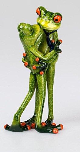 dekojohnson Figurine décorative humoristique Couple de grenouilles embrassant 18 cm