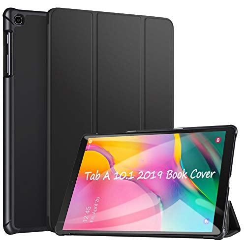 ZtotopCase Hülle für Samsung Galaxy Tab A 10,1 2019 - Leichtgewichts-Ultra Schlank PU Leder Hülle,Dreifach gefalteter Ständer,für Samsung Galaxy Tab A 10.1 Zoll 2019 Tablet SM-T510/SM-T515,Schwarz