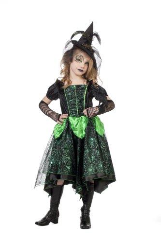 Karneval Klamotten' Kostüm Hexe Glamour grün Mädchen Halloween Hexe Mädchenkostüm 140