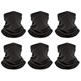 Peicees 6 Pack Neck Gaiter Face Mask for Women Men,UV Protection Face Cover Scarf Mask,Breathable Neck Gator Face Covering,Cool Bandana Balaclava for Outdoor Fishing Hiking (6 Pcs Black)