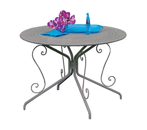 PEGANE Table de Jardin Ronde en Acier, Coloris Gris Anthracite - Ø 96 x 71 cm