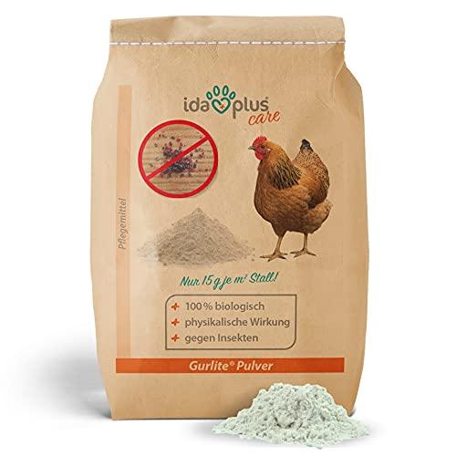 Ida Plus - Gurlite® Pulver - Effektiver Schutz gegen rote Milbe, Vogelmilben, Läusen, Flöhe, Zecken & Parasiten - Naturprodukt für den Hühnerstall - für Hühner, Wachteln & anderes Geflügel - 25 L