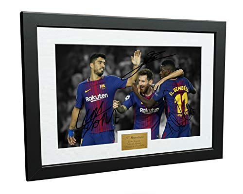 Kitbags & Lockers 12x8 FC Barcelona Luis Suarez Lionel Messi Ousmane Dembele Signed Autographed Photo Photograph Picture Frame Soccer Gift A4