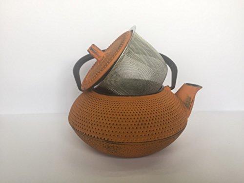 Tetera de hierro colado con filtro - capacidad 0.55 litros y color naranja - teteras para vitroceramica, inducción y gas – tetera de metal mediana para infusión y té