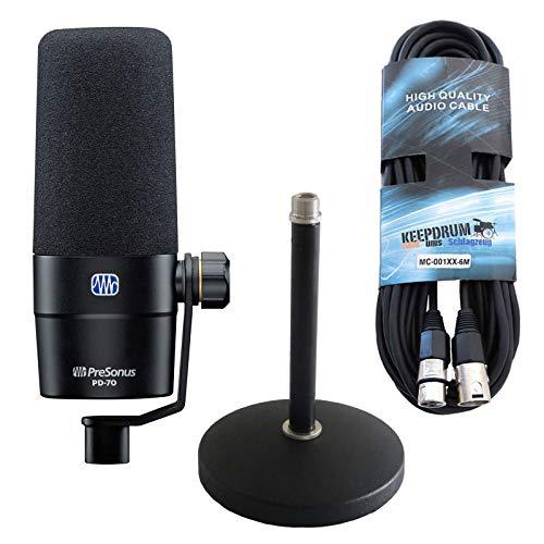 Presonus PD-70 - Micrófono de podcast, trípode de mesa Keepdrum MS032 y cable XLR de 6 m