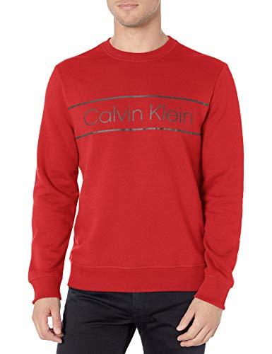 Calvin Klein Men's Classic CK Logo Fleece Crewneck Sweatshirt, Barbados Cherry, X-Large