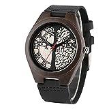 Black Life Tree Red Seconds Display Lovers Reloj de Madera Movimiento de Cuarzo Reloj de Pulsera de Cuero para Parejas Regalos con Caja maleizewithbox