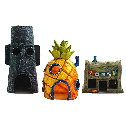 Aquarium Ornament 3er Pack Aquarium Dekoration, Spongebob Ananas Home Thaddäus Versteck und Krusty Krabben Dekorationen, Aquarium Landschaftsbau