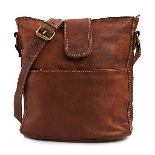 Nama 'Nicole' Handtasche Echtes Leder Umhängetasche für Damen Vintage Look Schultertasche klein Shopper Beutel Multitasche Naturleder Braun