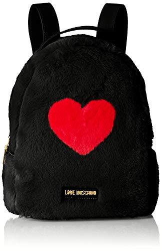 Love Moschino - Borsa Pin Grain Pu+poliestere, Bolsos mochila Mujer, Negro (Nero), 11x27x23 cm (B x H T)