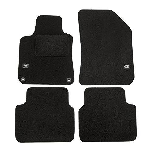 J&J AUTOMOTIVE | Logo Tapis DE Sol Noir Velours Compatible avec Peugeot 308 SW 2014-2021