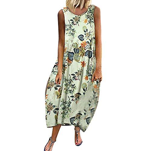 Sommerkleider Große Größen Ärmellos Träger Kleider Blumen Druckkleider Mode für Mollige Maxikleider Vintage Retro Kleider Boho Stil Strandkleider Plissee Kleid (Grün, 42)