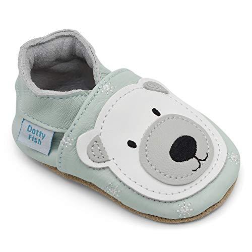 Dotty Fish Weiche Baby und Kleinkind Lederschuhe. Eisblau mit Eisbär. Mädchen und Jungen. 6-12 Monate (19 EU)