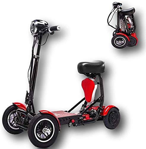 Foldable Lightweight Li-on Battery Power Mobility Scooters Easy Travel Electric Wheelchair Multi Terrain Scooter for Adults with Child Seat (Red) by Medical Care