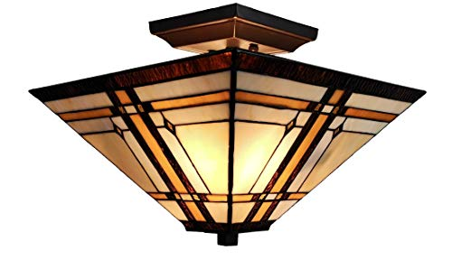 Amora Lighting Tiffany Style Ceiling Fixture Lamp Mission 14' Semi Flush Mount Wide Stained Glass Tan Brown Antique Vintage Light Decor Living Room Bedroom Kitchen Hallway Gift AM085CL14B, Multicolor