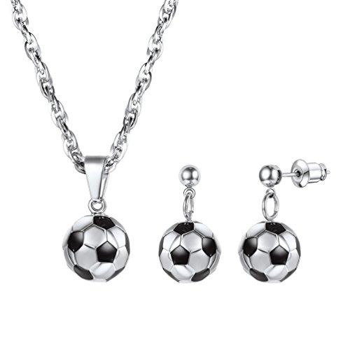 PROSTEEL Damen Schmuck Set 3D Fußball Design Anhänger Halskette Ohrringe Set Edelstahl Mädchen Schmuckset, Silber