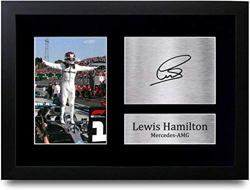 HWC Trading Lewis Hamilton Gift Signed A4 Printed Autograph Mercedes F1 Gifts Print Photo Picture Display ((Framed) Lewis Hamilton Celebration)