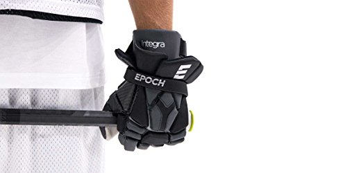 Epoch Lacrosse Integra High Perfomance Lacrosse Glove with Phase Change Technology, Real Carbon Thumb for Attack, Middie and Defensemen (14 inch) (Black)