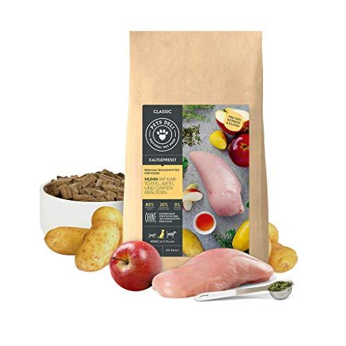 Hundefutter trocken kaltgepresst 5 kg | Premium-Qualität | Huhn mit Kartoffel, Apfel und Gartenkräuter | Sensitiv Trockenfutter für Hunde | 80% Fleischprotein, getreidefrei und ohne unnötige Zusätze