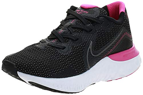 Nike Damen WMNS Renew Run Leichtathletik-Schuh, Black/MTLC Dark Grey-White-Fire Pink, 39 EU