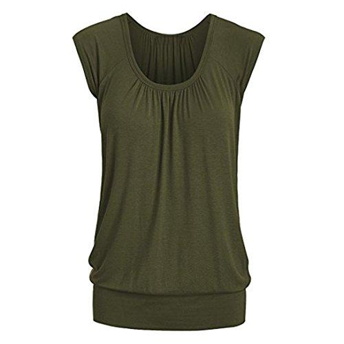 VEMOW Elegante Frauen Damen Sommer Casual Rundhals Solide Lose Beiläufige Tägliche Kurzarm T-Shirt Top Bluse Pulli Tees(Armeegrün, 44 DE/XL CN)