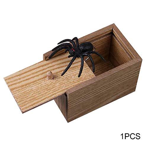 Coomir Streich Spinne Scare Box Gag Geschenk Tricky Toy lustige Streich Spinne aus Holz Scare Box lebensechte für Kinder Erwachsene