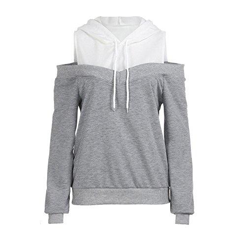 Xmiral Damen Hoodie Herbst Off Schulter Langarm Sweatshirt Frauen Baumwolle mit Kapuze Pullover Tops Bluse (L,Grau)