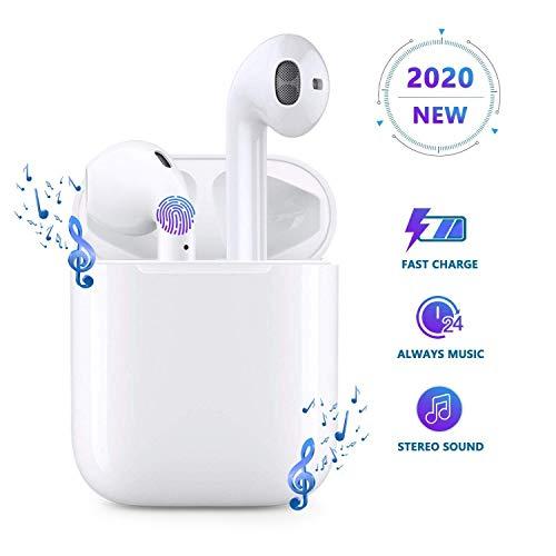 Auricolare Bluetooth,Cuffie Senza Fili,Cuffie Wireless Stereo 3D with IPX5 Impermeabile,Accoppiamento Automatico Per Chiamate Binaurali,Adatto Compatibile con iPhone/Apple AirPods/Android