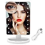 Vanity Lighted Makeup Mirror with 21 Led Lights Dual Power Supply, Cosmetic Desk Table Makeup Mirror with Detachable 10X Magnification, Touch Screen Light Adjustable Dimmable 180° Rotation(White)