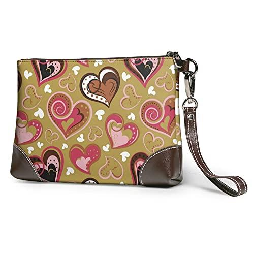 Love Heart Leather Clutch for Women Oversized Bag Purse Wristlet Handbag