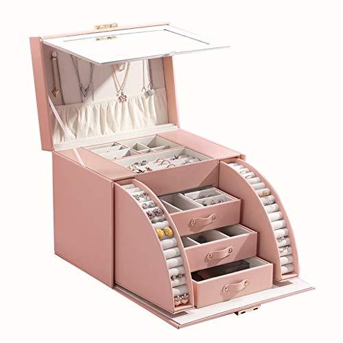ZDNB Joyero Caja de Almacenamiento de Gran Capacidad Cortex escaleras con un Anillo de Espejo Adornos de joyería Que contienen Caja, Negro, 25.5cm × 18.5cm × 21cm