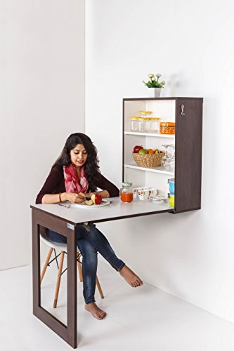 INVISIBLE BED Folding Wall Mounted Multipurpose Dining Table, Bar Table, Work Table (Dark Walnut - Plywood)