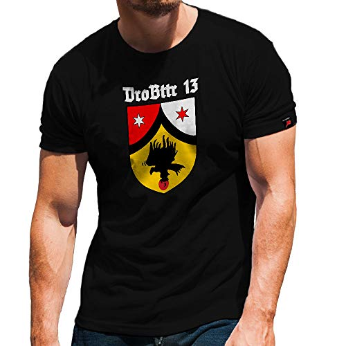 Drohnen Batterie 13 Einheit Kompanie Andenken Bundeswehr Drohne T Shirt #31827, Farbe:Schwarz, Größe:Herren S