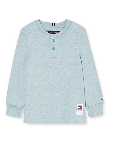 Tommy Hilfiger Structured Henley L/s Camisa, Vintage Denim, 16 para Niños