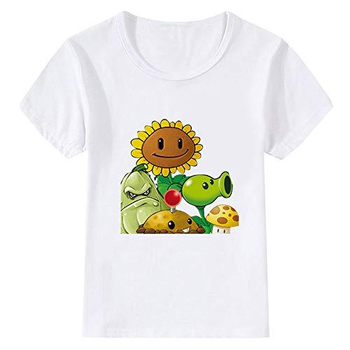 FONLONLON Plants vs. Zombies Semplice Casual Maglietta per Ragazzo e Ragazza Estive Manica Corta Rotondo Collo Cartoon Stampate T-Shirt