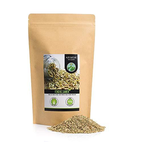 Semillas de hinojo (500g), hinojo entero, especia 100% natural, semillas de hinojo naturalmente sin aditivos, vegano