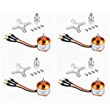 QWinOut A2212 1400KV Brushless Outrunner Motor with Mount 10T for RC Aircraft/KKmulticopter 4/6 Axle Quadcopter UFO (4 Pcs)