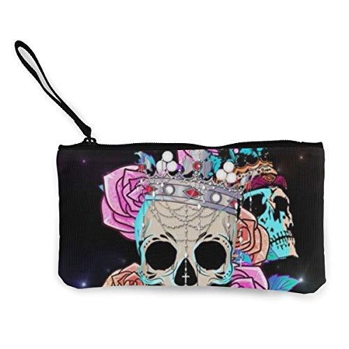 FIRS Damen Geldbörse mit Totenkopf-Motiv aus Segeltuch für Münzen, Mini-Geldbörse, Kartenfächer, Handy-Geldbörse