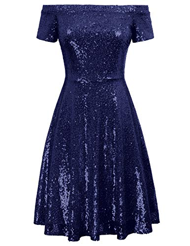 GRACE KARIN cocktailkleider Knielang Marineblau Glitzer Kleid elegant Off Shoulder Kleid Mode Kleid CL891-5 M