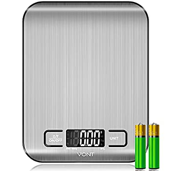 Vont  Milo  Kitchen Scale Food Scale Digital Scale w Beautiful LCD Screen 5 Measurement Units Gram Scale Used for Weight Loss Baking Cooking 304 Food Grade Stainless Steel  Batteries Included