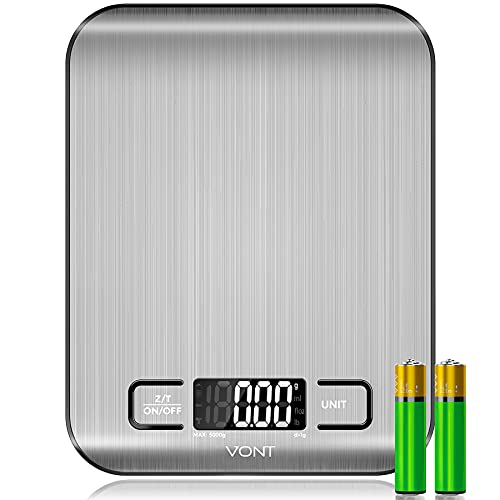 Vont 'Milo' Kitchen Scale, Food Scale, Digital Scale w. Beautiful LCD Screen, 5 Measurement Units, Gram Scale Used for Weight Loss, Baking, Cooking, 304 Food Grade Stainless Steel (Batteries Included)