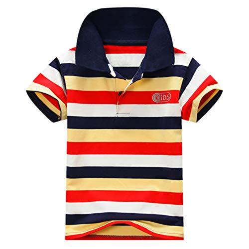 Ugitopi Jungen Baumwolle Kurzarm Gestreiftes Poloshirt Kinder T-Shirt 1-7 Jahre E 12