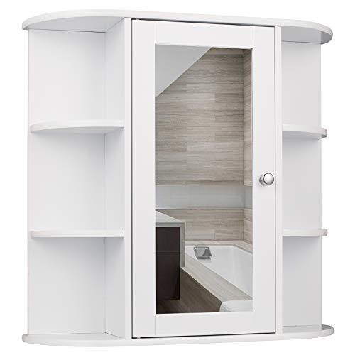 EUGAD Spiegelschrank für Badzimmer Hängeschrank Badschrank Spiegel mit Ablage Schminkschrank aus Holz 58 x 60 x 16 cm weiß