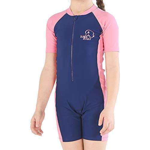 Karrack Girls and Boys One Piece Rash Guard Swimsuit Kid Water Sport Short Swimsuit UPF 50+ Sun Protection Bathing Suits Pink-Blue