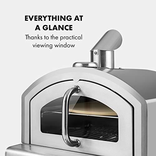 Foto von Klarstein Pizzaiolo Neo Gas-Pizzaofen Pizza-Backofen Pizzaofen, inkl. Pizzastein 33 cm (Ø) und Grillrost, eingebautes Thermometer, 304 Edelstahl, einfache Reinigung, silber
