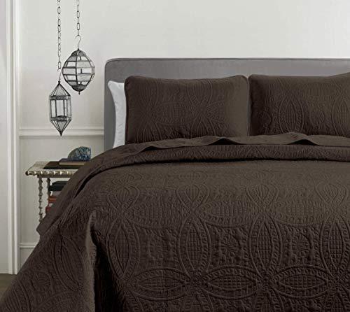 Chezmoi Collection Austin 3Oversize Tagesdecke Decke Set (King, Schokolade)