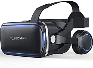 VR Shinecon vr Headset for Phone, Virtual Reality Goggles System 3D Glasses Set for Android Phone iPhone iOS with 4.7-6.0 ...