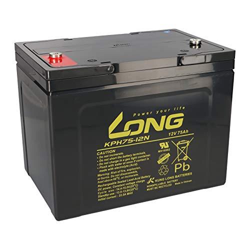 AGM KPH75-12N M6 - Batería de plomo (12 V, 75 Ah, compatible con MP75-12C, REC80-12I, M75-12, 12LC-75, KPH75-12NE, 75 Ah, 77 Ah, 80 Ah)