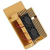minifinker Disipación de Calor Estable, protección Firme, Caja, Caja, Accesorio, Armadura, Carcasa con Ventilador de refrigeración Doble para Raspberry Pi 3, Modelo 2B / 3B